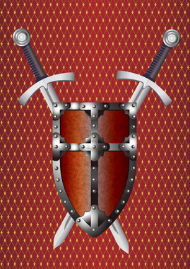 Shield and Swords Vector Graphic