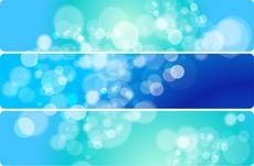 Bubble Blurs Blue Vector Banners