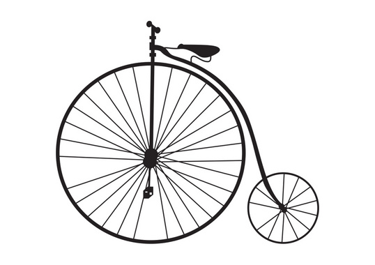 High-Step Bicycle silhouette Vector