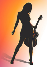 The Guitar Girl Vector Art