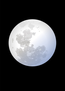 Simple Moon on Black Sky Vector
